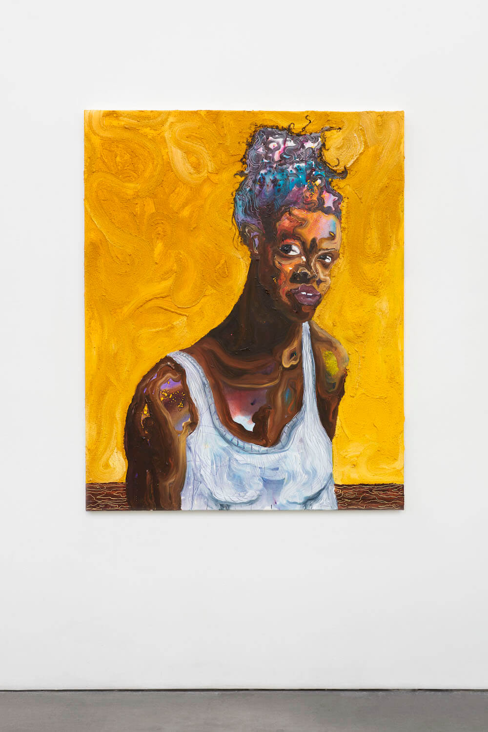 a painting by Ludovic Nkoth, there is one central figure shown from the chest up, she is a black woman in a white tank top, color shines through her hair and chest from an underpainting, the background is swirls of mustard yellow paint mixed with sand