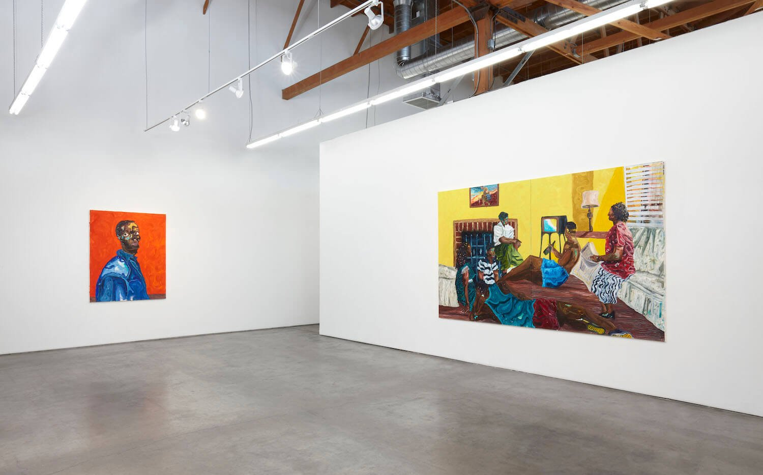an installation view of paintings by Ludovic Nkoth at François Ghebaly, Los Angeles